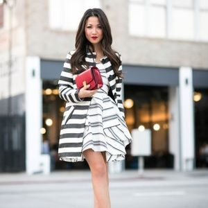 Cameo Black and White Striped Strapless Dress